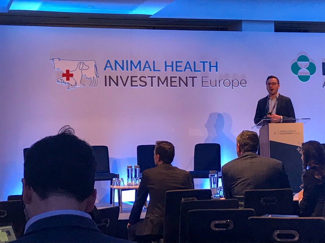 Tim Pfister of LiVET presenting among 20 top animal health startups at Animal Health Investment Europe 2020