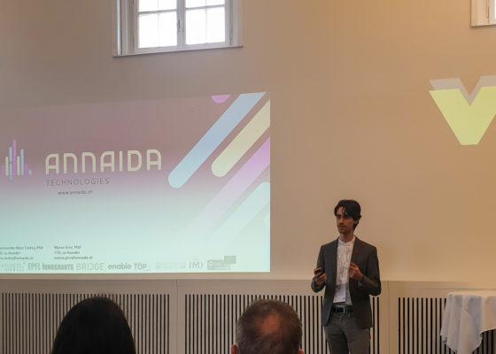 Gora Conley Annaida presenting for deVigier 2020 swiss starups awards