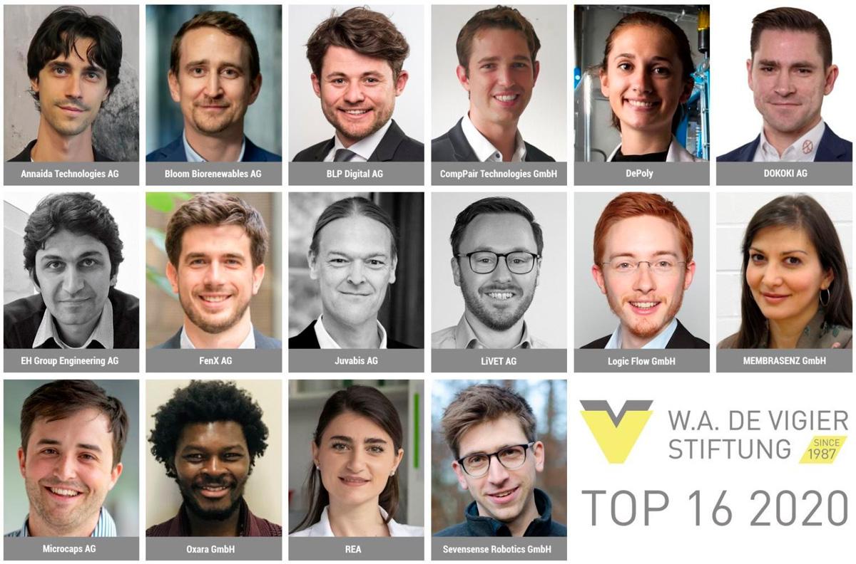 Top 16 Swiss startups for DeVigier Award 2020